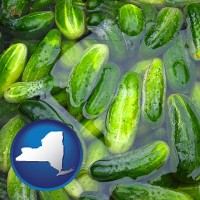 new-york cucumber pickles processed in brine
