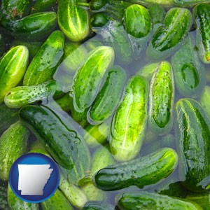 cucumber pickles processed in brine - with Arkansas icon