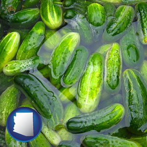 cucumber pickles processed in brine - with Arizona icon
