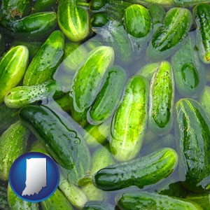 cucumber pickles processed in brine - with Indiana icon