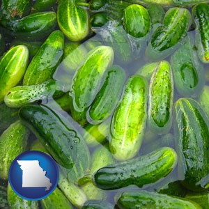 cucumber pickles processed in brine - with Missouri icon