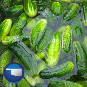 cucumber pickles processed in brine - with Oklahoma icon