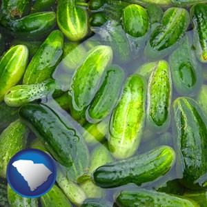 cucumber pickles processed in brine - with South Carolina icon